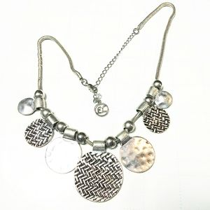 Erica Lyons Silver Tone Etched Coin Bib Necklace